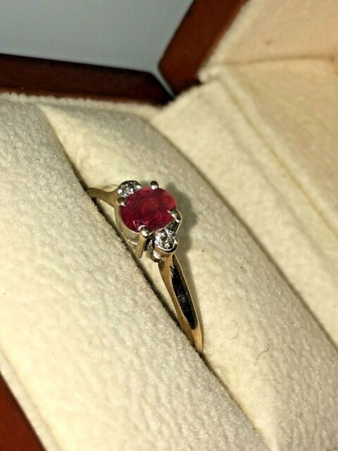 0.35ct Oval Ruby & Diamond Vintage Ring in 9K Yellow Gold