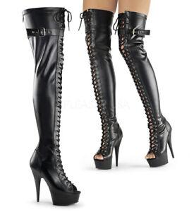 Delight cuir femmes compensées pour compensé 3025 noir Bottes Pleaser à talon en fygb76