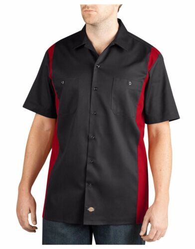 Dickies Mens Black English Red Two-Tone Short Sleeve Work Shirt Casual WS508