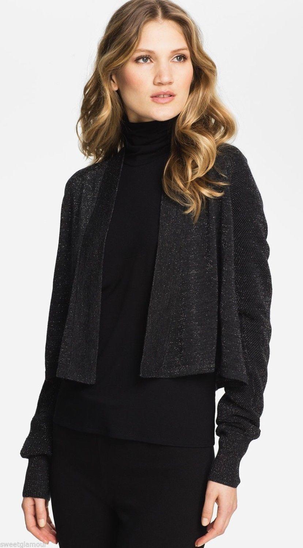 Eileen Fisher Charcoal Metallic Shimmering Fine Merino Cropped Cardigan