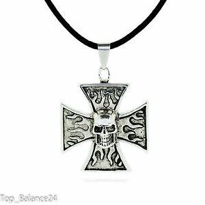 Halskette-Herrenkette-mit-Anhaenger-Eisernes-Kreuz-Totenkopf-Rocker-Biker-NEU