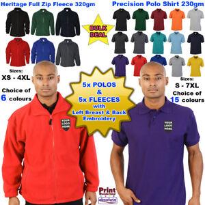 5x Personalised Embroidered Polo Shirt 5x Fleece Custom Work Free