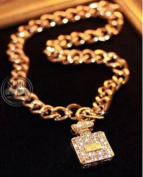 New Women Fashion Perfume Bottle Pendant Gold Plated Metal Chain Bib Necklace