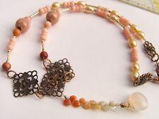 CeS Kette Chalzedon, Feueropal / mexican opal, Koralle, Perlen in Gold + Kupfer