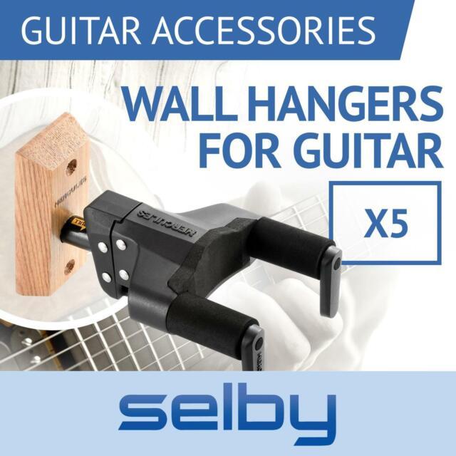 5 x Hercules GSP38WBPLUS Guitar Wall Mount Hangers Auto Locking & Wooden Base
