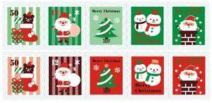 Postage-Stamp-Design-Santa-Snowman-Sticker-Gift-Christmas-Wrap-Seal-Stickers