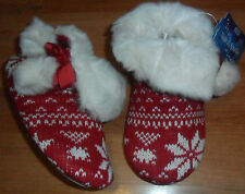 NEW M&S LITTLE GIRLS RED WHITE SLIPPER BOOTS SIZE 11 UK KNIT FURRY SANTA XMAS