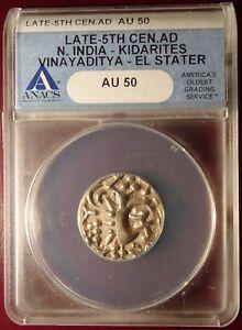 Late-5th-Century-AD-N-India-Kidarites-Vinayaditya-EL-Electrum-Stater-ANACS-AU50