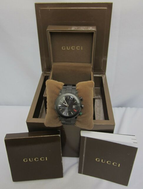 8f66b66289c Gucci 101M PVD Black Diamond Coating Stainless Steel Watch w  Box    Book Papers