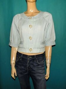 AMERICAN RETRO veste bolero en jean en coton bleu clair taille 40