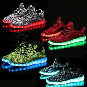 Hot A+ Unisex Uomo Donna Scarpe Casual Luminoso LED Shoes Scarpe sportive Nero