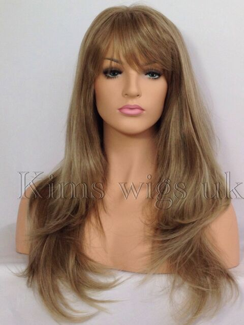 Completo Peluca Pelo para Mujer y Dama de Moda de larga Luz Marrón/Rubio mezcla de calor resistir UK
