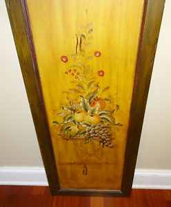 Vintage Primitive Hand Painted Wood Board Fruits Apples Grapes in Wooden Frame