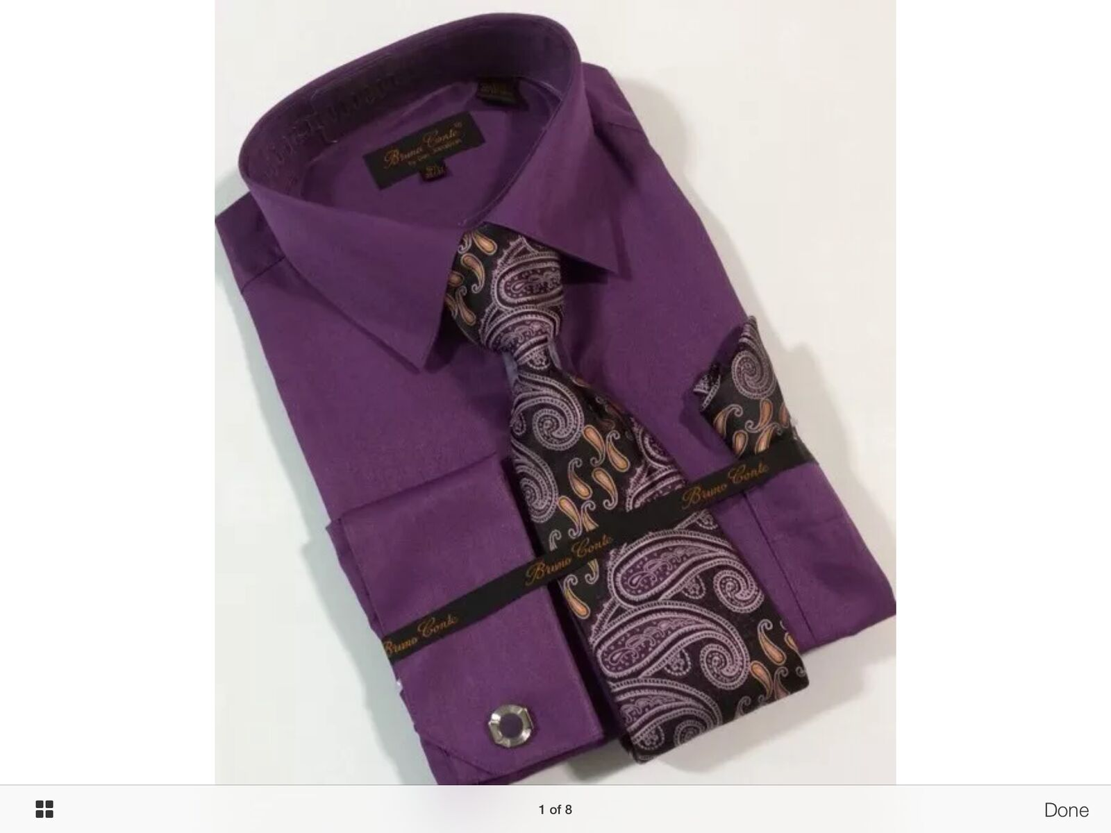 Bruno Conte Dress Shirt Combo with Tie,Hanky Cufflinks,Plum Herring Bone,New