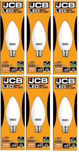 JCB 6w = 40w LED Opal Candles 3000k Warm White Bayonet Cap Energy Class A+