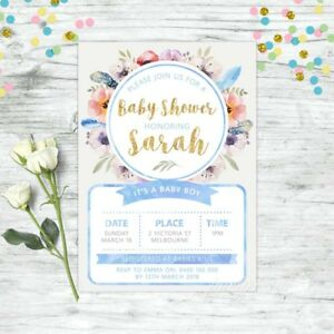 BABY-SHOWER-INVITATION-PERSONALISED-FLORAL-INVITE-BLUE-GOLD-BOYS-BOHO-CHIC