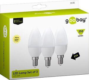 3x-LED-Gluehlampe-E14-250-Lumen-3W-warmweiss-25W-Gluehbirne-Kerze-SMD-Lampe-Birne