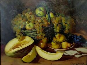 Nature-morte-aux-fruits-oil-on-canvas-signed-martinez-salamanca-spain-twentieth