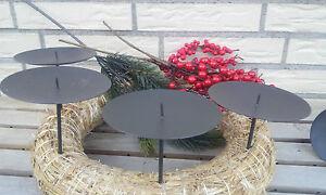 4 x metall 10cm adventskranzstecker schwer schwarz. Black Bedroom Furniture Sets. Home Design Ideas