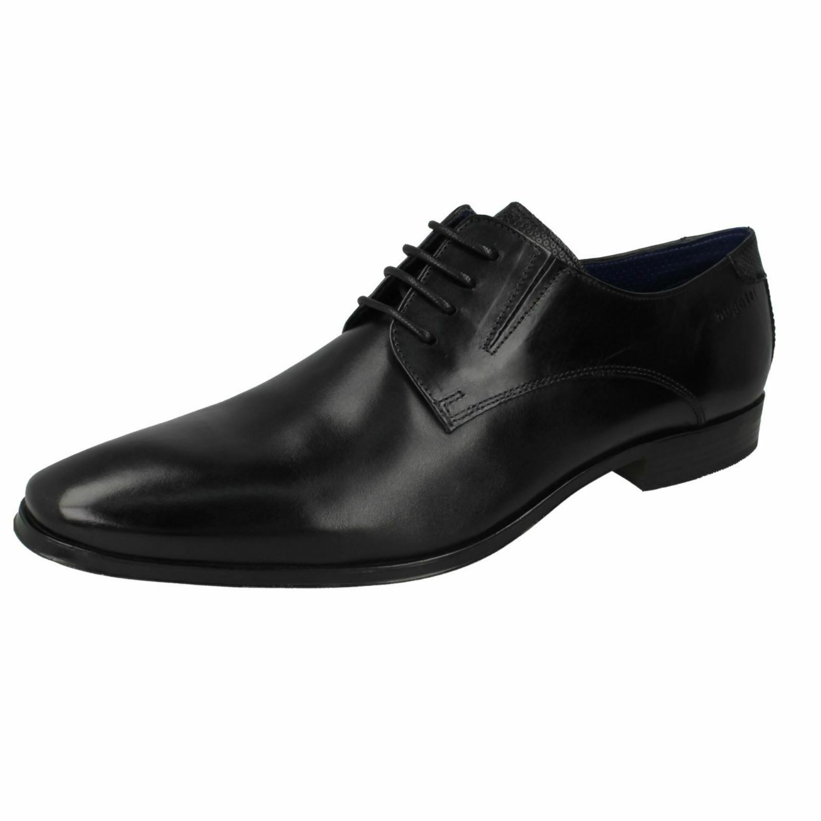 Mens Bugatti Black Leather Lace Up Formal Shoes 312-42002
