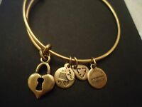 Alex And Ani Key To My Heart Russian Gold Charm Bangle W/ Tag Card & Box