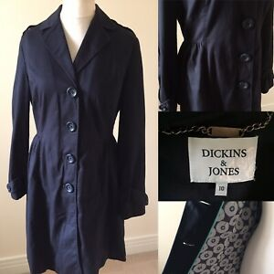 DICKINS-amp-JONES-Navy-COTTON-Waisted-Raincoat-Jacket-Sz-10-L36-POCKETS-Lined