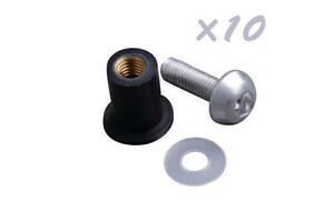 10x-Windshield-Screen-Kit-Silver-M5-Bolts-Rubber-Well-Nuts-Washers-For-Honda-KTM