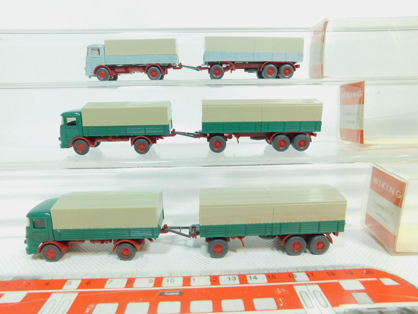 BO754-0,5  3x Wiking H0 1 87 477 Lastzug LKW Modell Büssing LU 7, sehr gut+OVP