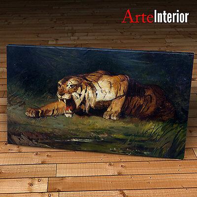Gustave Surand - Tigre pronta al balzo - Stampa su tela CANVAS ARTE IDEA REGALO