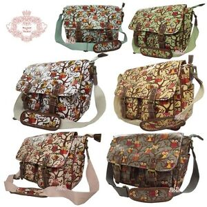 Anna Smith Designer Ladies Oilcloth Owl Print Saddle/Cross Body bag/Messenge bag