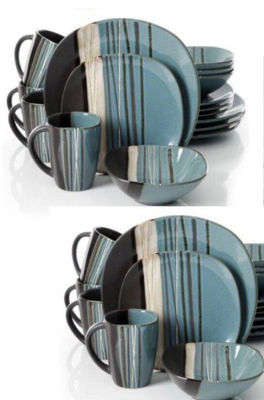 Contemporain Bleu Sarcelle Dinnerware Set 32 Pièce Servir 8 Place assiettes plats bols tasse