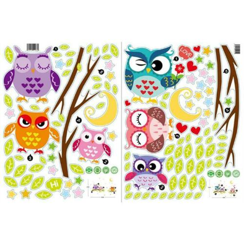Mural Wall Stickers Decal Owl Birds Branch Removable Decor Kids Baby Room HC