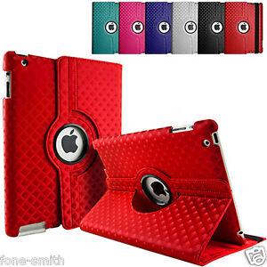 3D-Diamond-Piel-Giratoria-Soporte-Funda-Folio-Para-Todos-Apple-iPad
