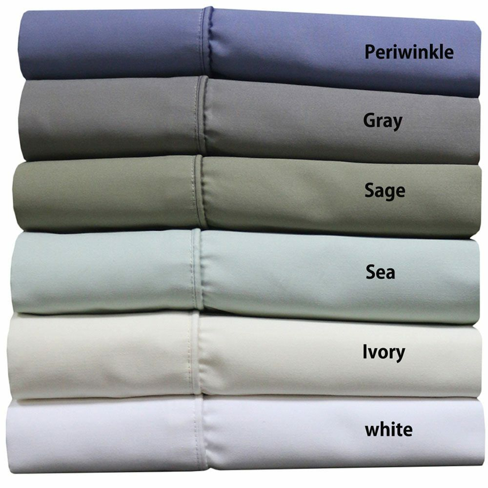 Wrinkle Free 1000 TC Cotton Blend Solid Easy Care Sheets 55% Cotton 45%Polyester