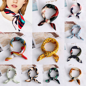 Women-Silk-Feel-Satin-Bandana-Square-Scarf-Vintage-Head-Neck-Tie-Hair-Band