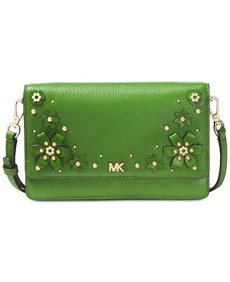 caebce97d2f1 New Michael Kors TRUN GREEN Floral Embellished Convertible Crossbody Bag -NWT$148