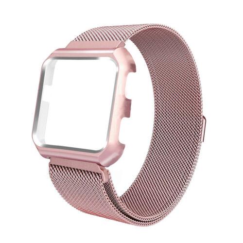 For Fitbit Versa //Versa Lite Metal Frame Case Housing+Milanese Loop Steel Band