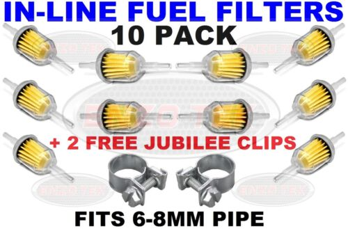 Lot de 10 inline carburant filtres petit universal fit 6mm et 8mm tuyaux