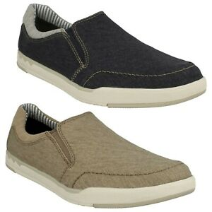 Mens Clarks Casual Canvas Shoes Step Isle Slip