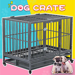 36-034-Large-Heavy-Duty-Metal-Dog-Crate-Pet-Kennel-Cage-Playpen-with-Tray-amp-Wheels