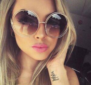 XXL-Double-Wire-Metal-Rim-Oversized-Big-Round-Carlina-Halo-Designer-Sunglasses