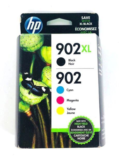 Genuine HP 902XL Black & 902 Color C/M/Y Ink NEW SEALED Box 11/2020 - Ships Fast