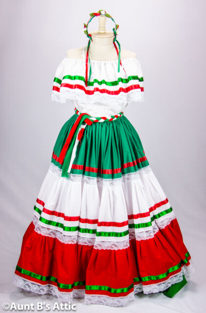 Peasant Dress Authentic Mexican Red/White/Green Adelita Creation Ethnic Festival