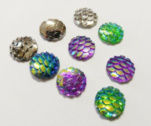 6 Mermaid Scale Cabochons Flatbacks 12mm Assorted Lot Resin Dragon Scales