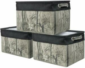 Large-Storage-Basket-Rustic-Tree-Stump-Print-Rectangular-Fabric-Bin-Box-3-Pack