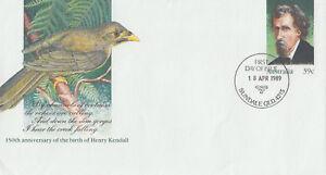 (13970) Australie Entiers Postaux Fdc Henry Kendall 18 Avril 1989-afficher Le Titre D'origine