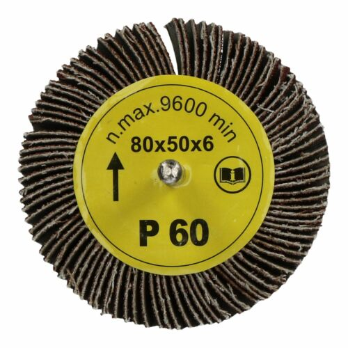 80mm x 50mm Flap Wheel Disc Abrasive Sanding Pad for Drills 60 Grit 4 Pack