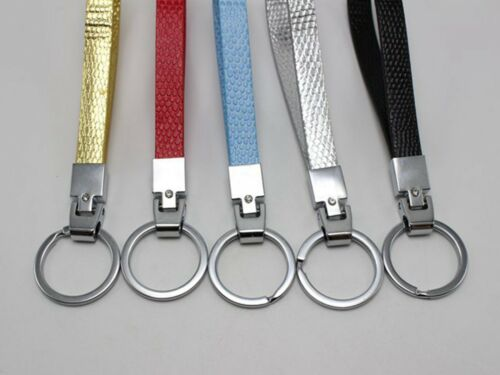 5 Stainless Steel Key Ring with Synthetic leather Band Fit 10mm Slide Charm