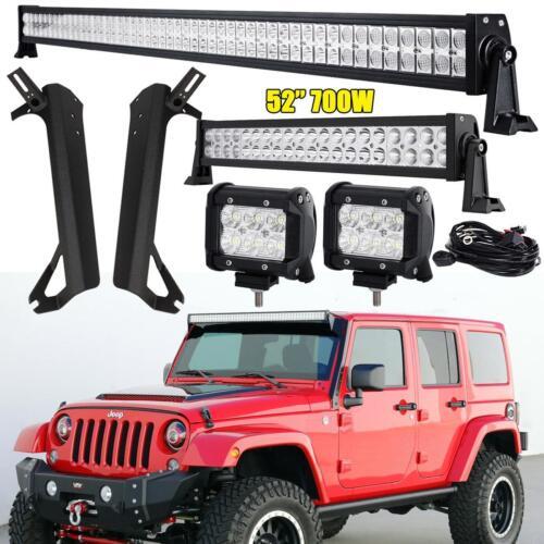 "For Jeep Wrangler TJ 1997-2006 52/"" 700W LED Light Bar Mounting Brackets Set"