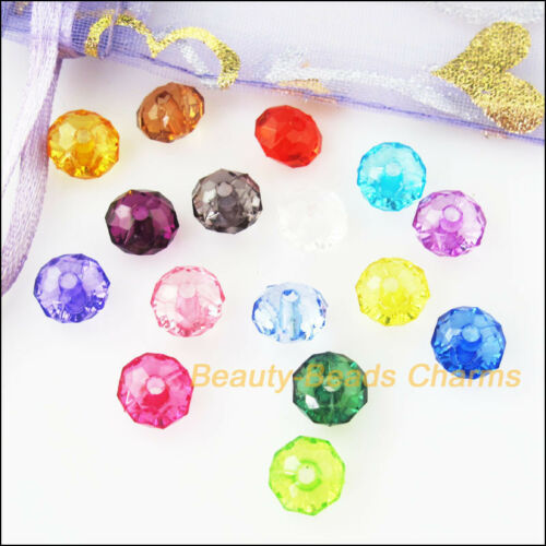 20Pcs Mixed Plastic Acrylic Clear Faceted Round Flat Charms Spacer Beads 12mm